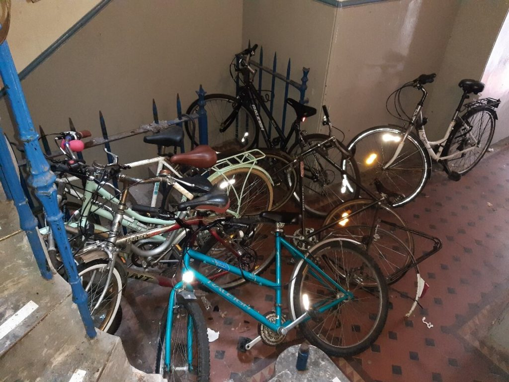 abandoned bikes in stairwells